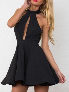 Black Entrapment Halter Cut Out Back Skater Dress | Choies