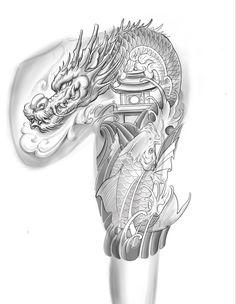 Dragon Koi Tattoo Design, Dragon Tattoo Colour, Dragon Tattoo Sketch, Koi Dragon Tattoo, Geisha Tattoo Design, Koi Tattoo Sleeve, Dragon Sleeve Tattoos, Tattoo Sleeve Designs, Japanese Hand Tattoos