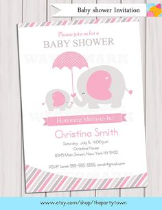 Elephant Baby Shower Invitation / Pink Elephant by ThePartyTown, $8.99