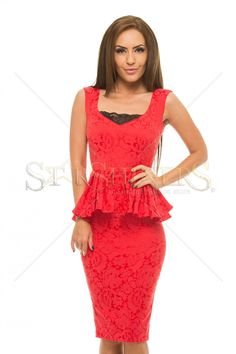 StarShinerS Heavenly Red Dress, lace details, with ruffle details, back zipper fastening, slightly elastic fabric Metal Tattoo, Bohemian Look, Fabric Textures, Product Label, Fall Collections, Fall Wardrobe, Heavenly, Lace Detail, Peplum Dress