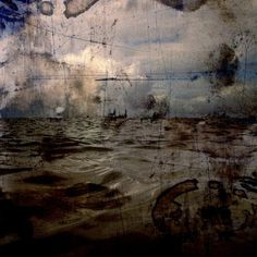 """Exhibition: 'Troy Ruffels: Cinder' at James Makin Gallery, Collingwood, Melbourne http://wp.me/pn2J2-4kn Dr Marcus Bunyan. """"This scratching away at reality. Abstractness of becoming. Imagined, chthonian (of or relating to the underworld, from Greek khthonios, of the earth) landscape. Manifestations of the mind. The landscape as Other."""" Photo: Troy Ruffels. 'Sea #1 (Arc)' 2013"""