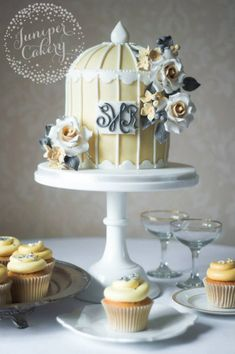 Champagne, Ivory and Silver Monogram Birdcage Wedding Cake ~ we ❤ this! moncheribridals.com