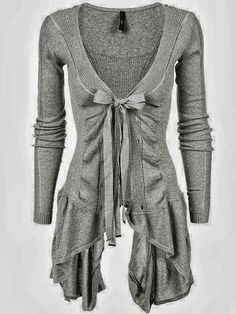 Ribbed asymetric cotton cardigan