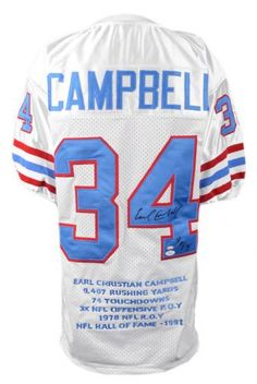 Earl Campbell Autographed Stat Jersey with