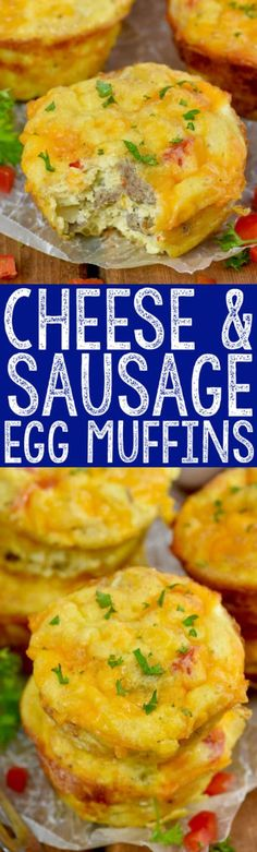 These Cheese and Sausage Egg Muffins come together in a flash! Perfect for eating right away or freezing, a great breakfast on the run!