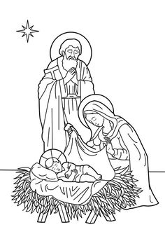 Jesus is born to Mary and Joseph. Bible coloring page Bible Coloring Pages, Adult Coloring Pages, Coloring Books, Christmas Nativity Scene, Father Christmas, Religion, The Birth Of Christ, Christmas Drawing, Christmas Coloring Pages
