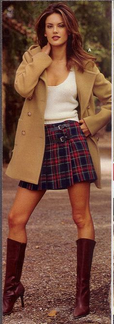 """Victoria's Secret """"Old School"""" Models (March 2006 - July - Page 5 - the Fashion Spot - Fall 2003 VSC - Alessandra Ambrosio School Fashion, 90s Fashion, Autumn Fashion, Alessandra Ambrosio, Victoria Secret Catalog, Girl Fashion Style, Schoolgirl Style, Tartan Dress, Sexy Boots"""