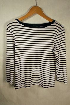 Ralph Lauren Black White Stripe Boat Neck 3/4 Sleeve Top Large Basic Plus Shirt #RalphLauren #KnitTop #Capsulewardrobe #Frenchwadrobe #Minimalist