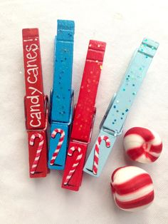 CANDY CANES CLOTHESPINS red and blue painted magnetic clothespin set by SugarAndPaint on Etsy
