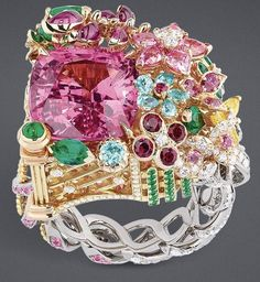 "DIOR 2017. ""Pink Spinel Queen's Hamlet"" ring in pink, yellow and white gold, diamonds, pink spinels, pink sapphires, emeralds, Paraiba tourmalines, rubies and yellow sapphires"