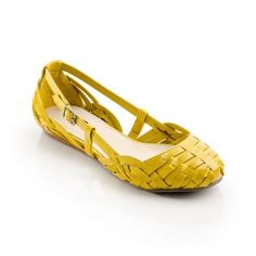 : Yellow Woven Flats