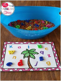 Chicka Chicka Boom Boom letter mats and sensory tubs.FREE Chicka Chicka Boom Boom letter mats and sensory tubs. Preschool Letters, Learning Letters, Preschool Classroom, Preschool Learning, Preschool Activities, Book Activities, Preschool Books, Teaching Resources, Writing Center Preschool