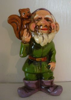 "Vintage Dwarf Gnome 4"" Ornament Made in Japan 1960's Green w/ Squirrel #2"