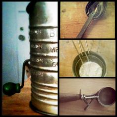 The best un-plastic gifts and vintage finds. Stainless measuring cups/spoons, sifter, ice cream scoop (actually used to fill muffin tins with batter).