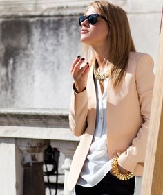 day 3 - 61st bday - RAF gallero and office opening -nude blazer, white blouse, gold jewelry(pump 1-j)