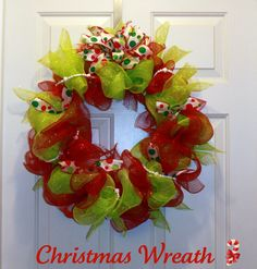This is a handmade mesh Christmas wreath accented with polka ribbon and white beaded garland. Size measures about 21 in and is the perfect way to greet your holiday guest.     Have a different color in mind? Contact me with your details and I'll be happy to customize one especially for you!