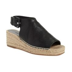 "rag & bone 'Sienna' Espadrille, 2 1/4"" heel (3,505 EGP) ❤ liked on Polyvore featuring shoes, sandals, black, leather sandals, black low wedge sandals, black leather shoes, black braided sandals and platform sandals"