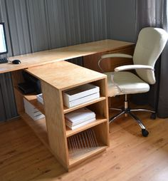 Eco Office Large Bookshelf - Made with PureBond Formaldehyde Free Plywood - Would raise the side against the wall just a bit so I could add wheels to the second desk to make it mobile/adjustable.
