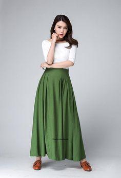 Long skirt boho skirt green skirt linen skirt skirt with