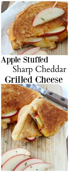Sharp cheddar grilled cheese stuffed with sliced apples and a blend of stone ground mustard & fig jam. Sharp cheddar grilled cheese stuffed with sliced apples and a blend of stone ground mustard & fig jam. Grill Sandwich, Apple Sandwich, Soup And Sandwich, Sandwich Recipes, Sandwich Fillings, Sandwich Board, Tostadas, Grilled Cheese Recipes, Grilled Cheeses