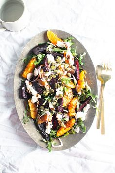 Balsamic Roasted Beets, Sweet Orange & Chévre Salad with Pumpkin Seeds