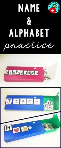 Name and alphabet practice! Store letter in pencil box. Perfect for centers! Preschool Names, Name Activities, Kindergarten Literacy, Alphabet Activities, Writing Activities, Preschool Alphabet, Autism Activities, Early Literacy, Language Activities