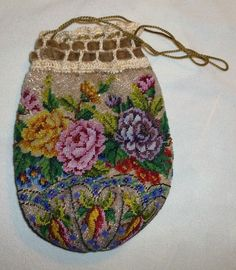 Antique Micro Beaded Floral Design Drawstring Purse Bag Beads Beadwork #Handmade #Drawstring