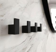 Quadra Hook 8 by bønnelycke arkitekter for Frost – Cute and Trend Towel Models Bathroom Inspo, Bathroom Colors, Bathroom Inspiration, Bathroom Interior, Design Bathroom, Bathroom Ideas, Bathroom Towel Hooks, Black Towels, Black Towel Rail