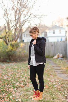 black pants, boots, jacket, stripes
