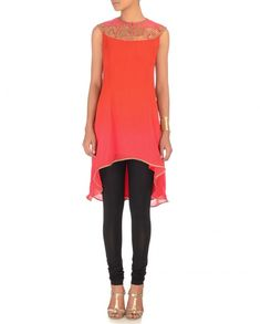 Bright Orange & Fuchsia Tunic http://goo.gl/3dkio8 #fashion #beautiful #luxury #Indian #India #blue #blush #summer #ombre #JJValaya #sari #saree #suit #anarkali #desi #designer #desi #red #pink #cream