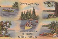 Lake Hamilton and Lake Catherine, Hot Springs National Park, Arkansas, vintage lake scenes