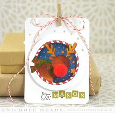 Reindeer Tag by Nichole Heady for Papertrey Ink (November 2014)