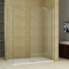 Walk in Wet Room Tall Shower Enclosure Glass Screen Side Panel Stone Tray Walk In Shower Enclosures, Wet Rooms, Glass Screen, Space Saving, Small Bathroom, Tray, Furniture, Stone, Design