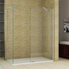 Walk in Wet Room Tall Shower Enclosure Glass Screen Side Panel Stone Tray Shower Enclosure, Walk In Shower, Small Bathroom, Panel Siding, Enclosure, Room Divider, Space Saving, Bathroom Design, Walk In Shower Enclosures