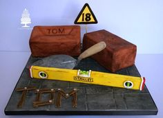 Bricks, a trowel and spirit level all made for an Birthday celebration. The bricks are chocolate cake, covered in coloured fondant and textured with a food only nail brush and tin foil. I used dusts to make them look dirty. The trowel is made. 40th Birthday Cakes For Men, Birthday Celebration, 21st Birthday, Dad Cake, Order Cake, Novelty Cakes, Cakes For Boys, Fancy Cakes, Cake Tutorial