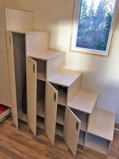 Tiny House - mini house with furniture, statics and street legal >>> . Tiny House Stairs, Tiny House Loft, Tiny House Storage, Tiny House Trailer, Tiny House Living, Tiny House Plans, Tiny House Design, Living Room, Bedroom Storage Ideas For Clothes