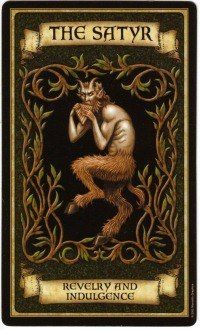 """The """"Satyr"""" tarot card from """"Madame Endora's Fortune Cards"""", symbolizing revelry and indulgence Fortune Cards, Fortune Telling Cards, Arte Black, Angel Cards, Tarot Spreads, Tarot Readers, Oracle Cards, Book Of Shadows, Tarot Decks"""