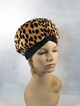 Vintage 60s 70s Hat Faux Leopard Banded Bubble Beret Sz 22.5