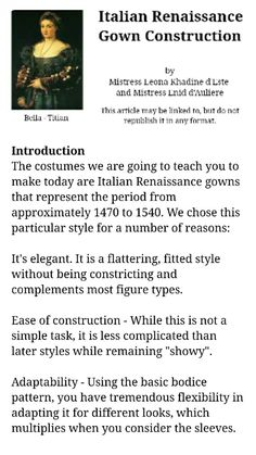 Historical Costume Tutorials How to make an Italian Renaissance gown