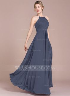 A-Line/Princess Scoop Neck Floor-Length Ruffle Zipper Up Spaghetti Straps Sleeveless No Dark Navy Spring Summer Fall Winter General Plus Chiffon Height:5.7ft Bust:33in Waist:24in Hips:34in US 2 / UK 6 / EU 32 Bridesmaid Dress