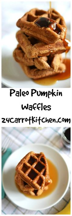 These Pumpkin Waffles have no oil or refined sugar and are delicious!  Plus, find out my favorite almond butter to use in this recipe. |grain free, gluten free, dairy free, paleo, waffles, breakfast, brunch, fall recipes|