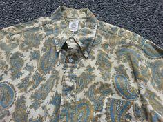 Vtg 40s 50s Arrow Cum Laude Paisley Sanforized Shirt sz M USA made