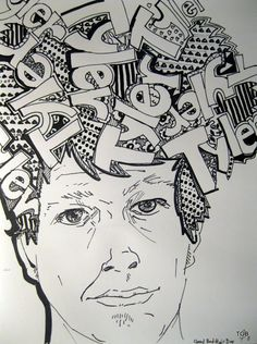 """""""Bad Hair Day"""" project. junior to senior grades.. Self-Portrait and elements of art content."""