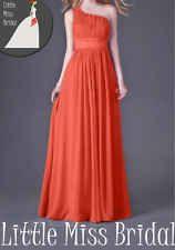 Orange One Shoulder Bridesmaid Dress  Evening Party Prom Wedding Dresses