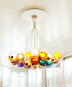 colored ball ornaments hanging from ceiling