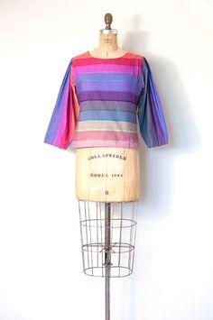 1980s Rainbow Stripe Cotton Blouse | S/M — SwaneeGRACE