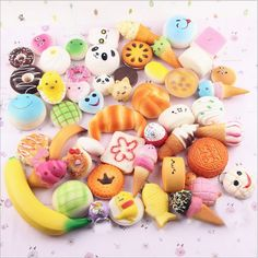 Random Kawaii Mini Soft Squishy Foods Panda Bread Bun Toasts Multi Donuts Phone Straps Charm Kids Toy Gift ** Continue to the product at the image link. Squishy Food, Cake Squishy, Squishy Kawaii, Stress Toys, Stress Relief Toys, Panda Bread, Cute Squishies, Jumbo Squishies, Homemade Squishies