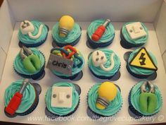 Cupcakes: Electrician themed cupcakes. Including plugs, light switch, wires, tools, light bulb handmade decorations. Made for a birthday. www.facebook.com/thegrovecupcakery