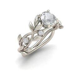 e6832b3fb Women's Vine Leaf Cubic Zircon Ring Fashion Jewelry Simple Vintage Gold  Unique Diamond Signet Wedding Silver