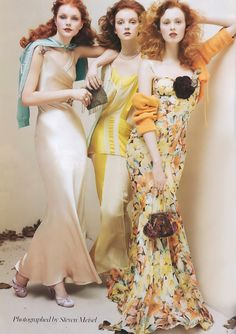 Red heads, blue, yellow, orange, pastels, florals, curly, Steven Meisel, Dust Jacket blog